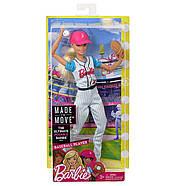 Уцінка!! Пошкоджена упаковка.Лялька Barbie Бейсболістка Безмежні руху, фото 2
