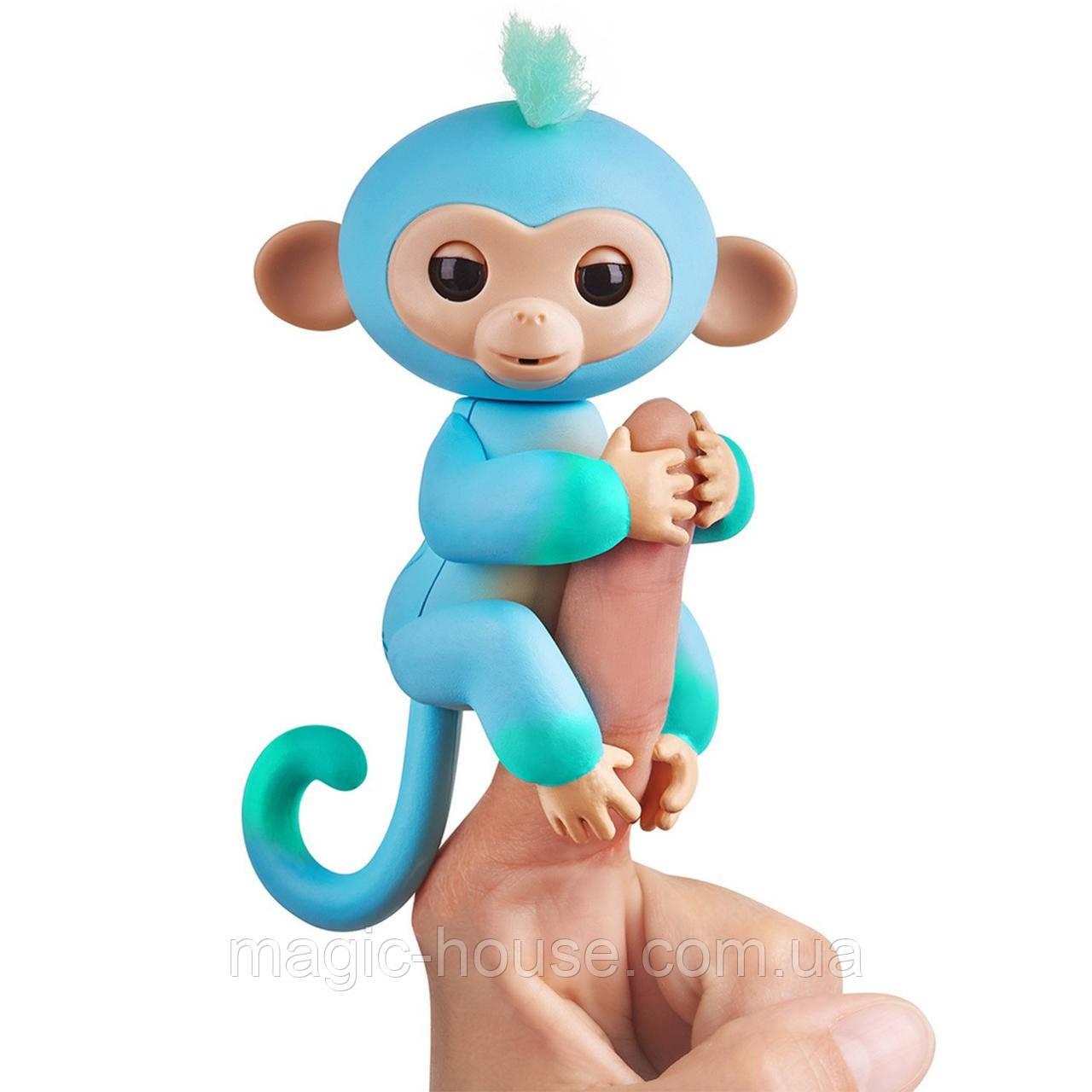 Оригінальна інтерактивна ручна мавпочка двоколірна Чарлі Блакитна Fingerlings 2Tone Monkey Charlie