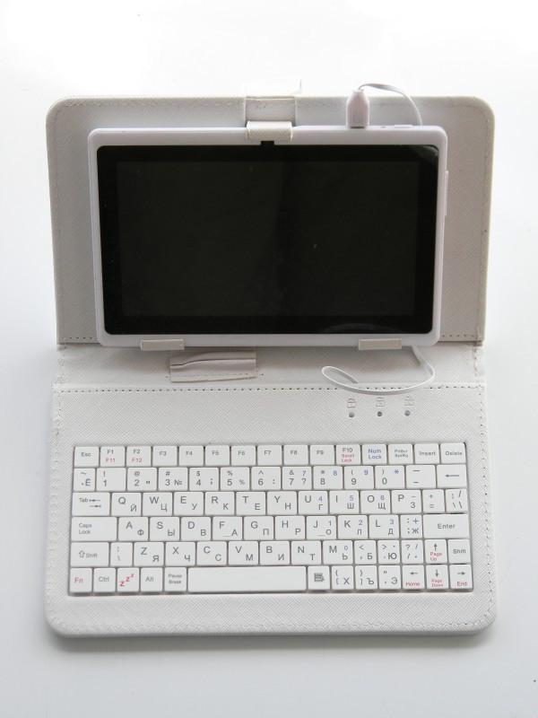 Чехол с клавиатурой 7 дюймов micro usb Белый