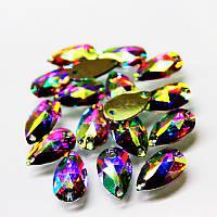 Пришивные стразы(синтетич.стекло)  Капля 10х14 Цвет Crystal AB(хамелеон).Цена за 1шт