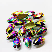 Пришивные стразы(синтетич.стекло). Капля 13х22.Цвет Crystal AB(хамелеон).Цена за 1шт