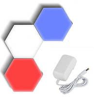 Светильник сенсорный Соты,  3 шт, разноцветные, type 6