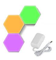 Светильник сенсорный Соты, 3 шт, разноцветные, type 4