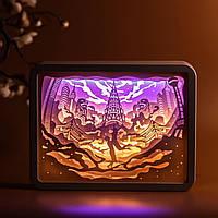 """3D настольная картина-ночник """"Путешествие вокруг света"""""""