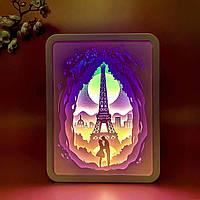 """3D настольная картина-ночник """"Влюбленные в Париже"""""""