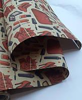Двухсторонняя крафт бумага с рисунком  для цветов и подарков в рулонах Ruta 70см*10м