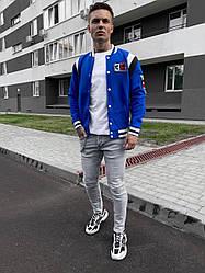 Мужской бомбер осенний хитовый (голубой) стильная куртка на новый сезон sc78
