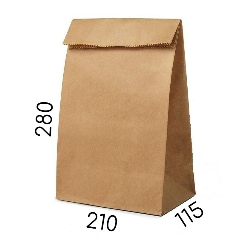 Крафт пакет без ручек - 210 × 115 × 280 мм