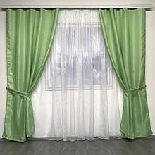 Готовый комплект  Шторы  Монорей однотонные Зеленые 150x270 см 2 шт. + Тюль Кристалон 400*270 см Белый