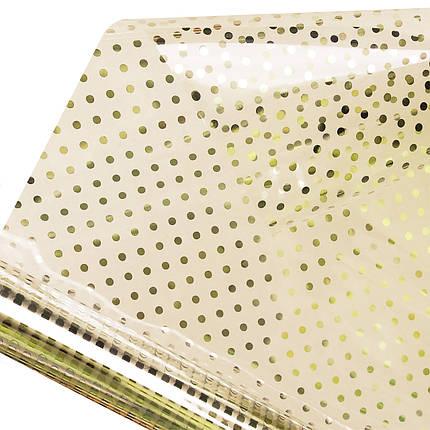 Калька для упаковки квітів в рулоні Прозора в золотий горошок 0,7×10 м, фото 2