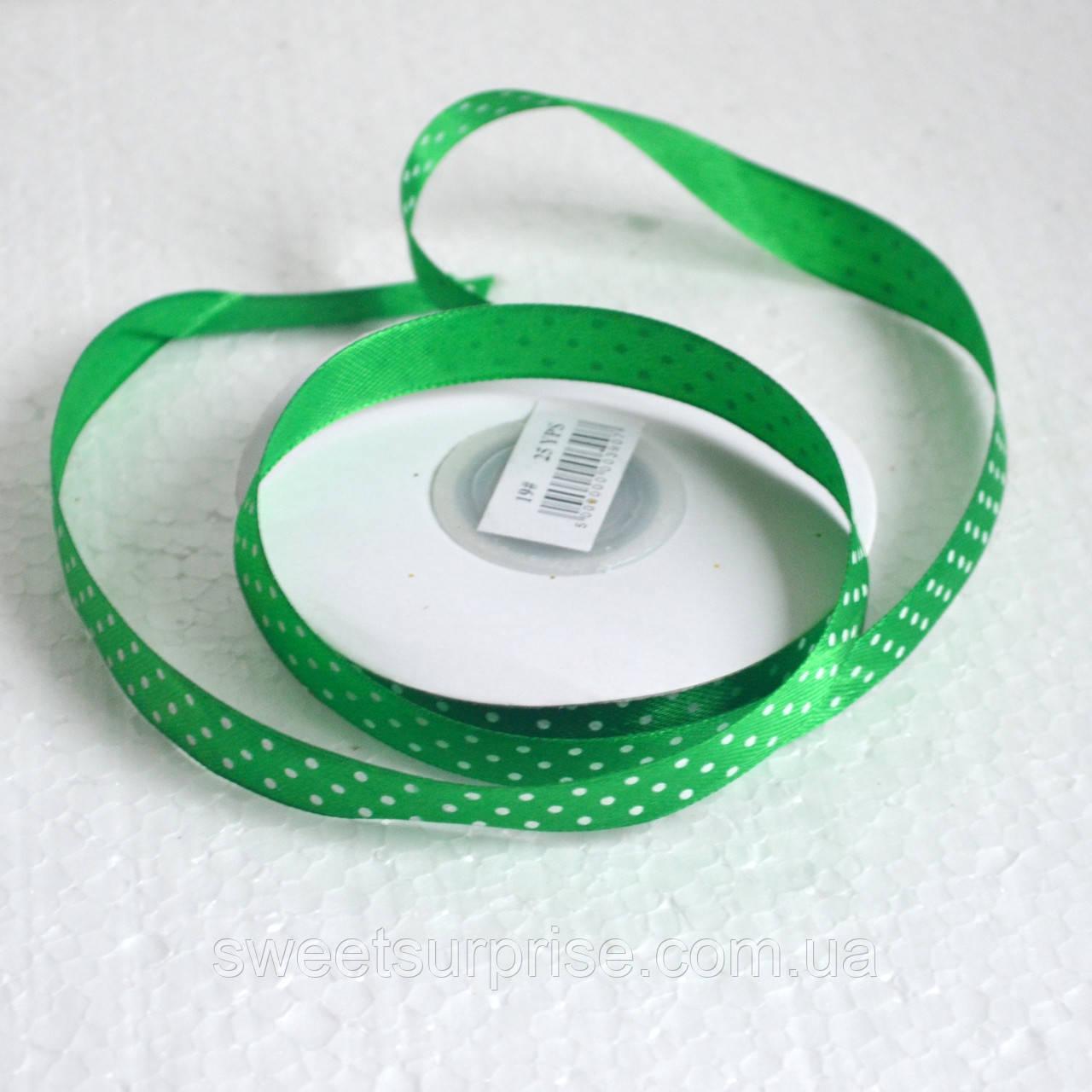 Стрічка атласна в горох 12 мм (зелений)