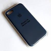 Чехол для Iphone 7/8/SE 2020 Silicone Case бампер закрытый низ (Dark blue)