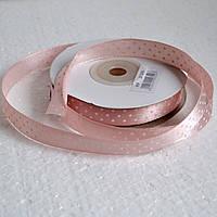 Лента атласная в горох 12 мм (розовый)