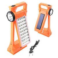 Переносной фонарик без батареек Yajia 6851T: 6 часов яркого света, зарядка от солнца/сети, USB