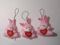 Зайчик  мягкая игрушка с сердечком на шнурке