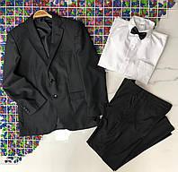 Підлітковий шкільний костюм для хлопчика 13-16 років,білий з чорним
