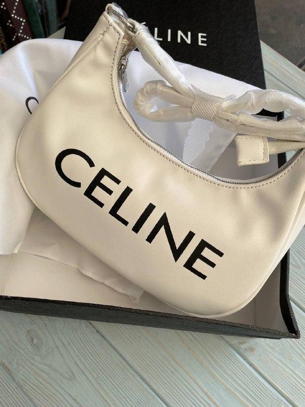 Жіноча сумка-багет Селін люкс репліка в молочному кольорі