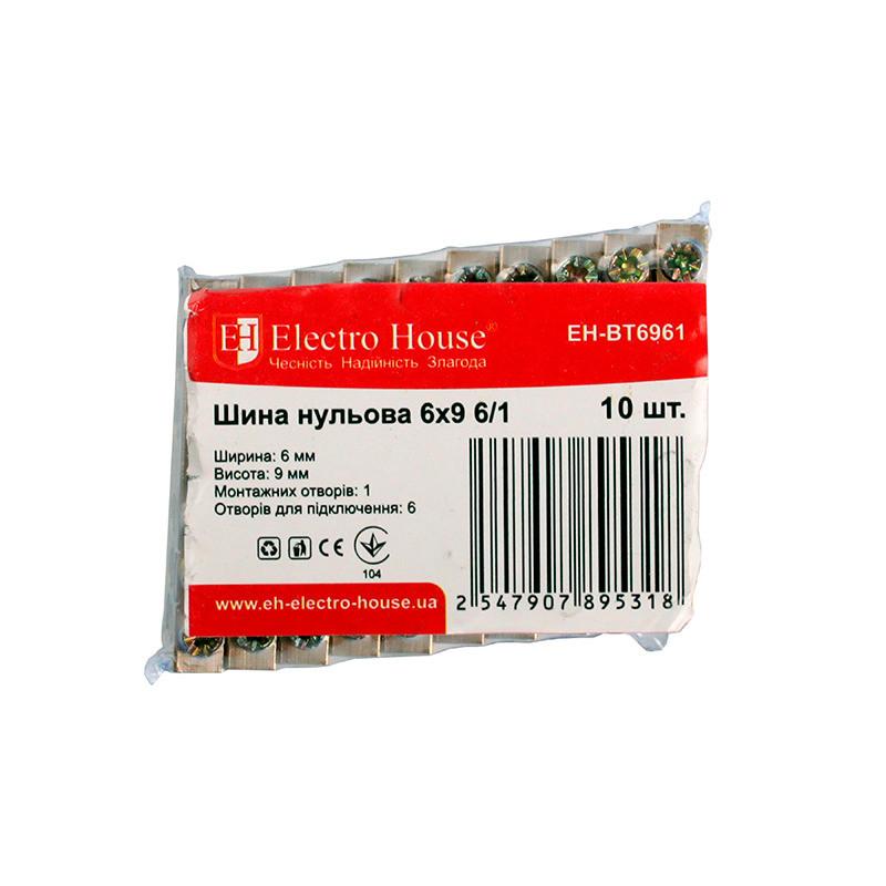 ElectroHouse Шина нульова 6х9 6/1 100A
