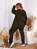 Жіночий Трикотажний Спортивний Костюм Батал Чорний, Хакі, Синій, фото 3