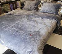 Велюровый Комплект постельного белья  Моника евро размер Серого цвета