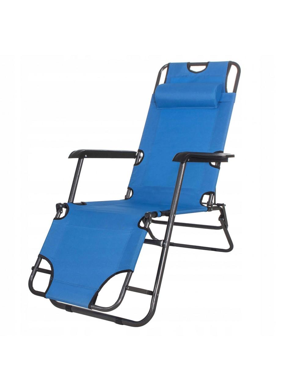 Шезлонг крісло-лежак для пляжу тераси та саду Springos Zero Gravity Синій (GC0004)