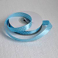 Лента атласная в горох 12 мм (голубой)