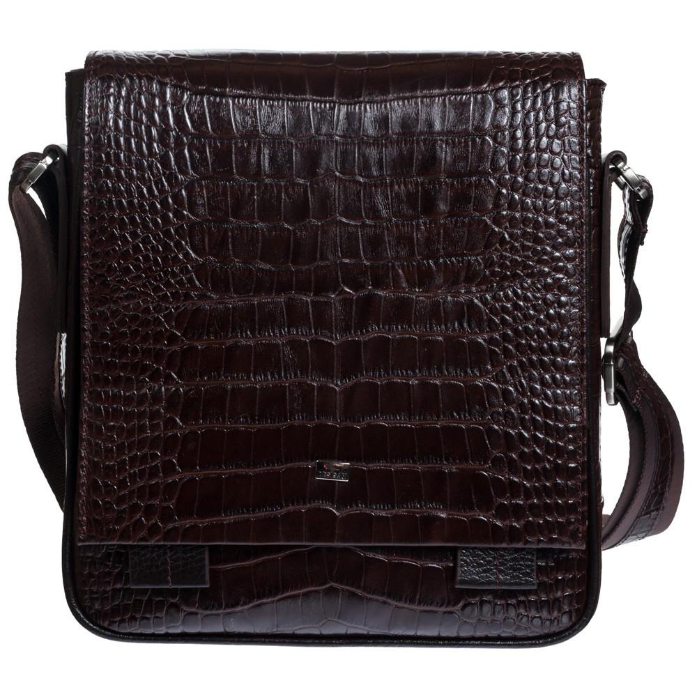 Барсетка мягкая кожаная DESISAN 420-19 коричневый кроко