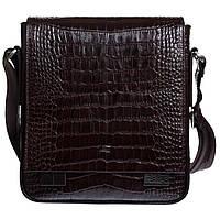 Барсетка мягкая кожаная DESISAN 420-19 коричневый кроко, фото 1