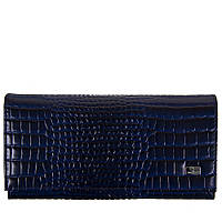 Кошелек женский кожаный Desisan 057-634 синий кроко лак, фото 1