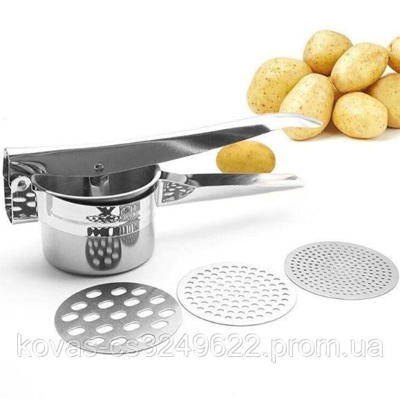 Картофельный пресс со сменными насадками для приготовления пюре
