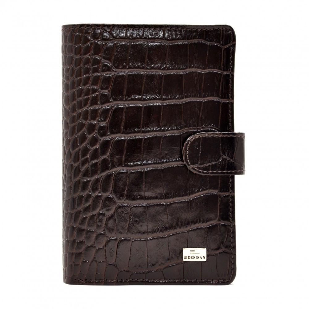 Шкіряне Портмоне Desisan 081-19 коричневий кроко
