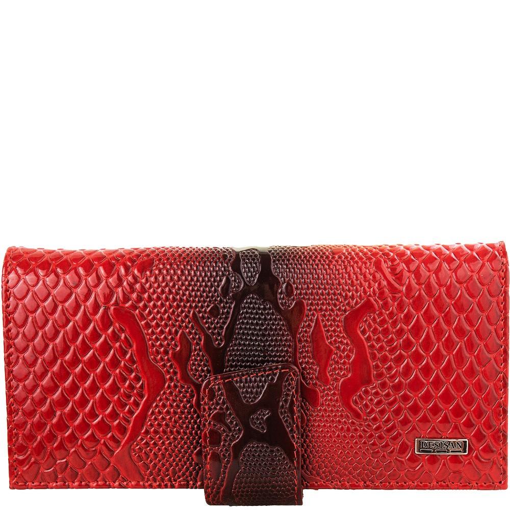 Гаманець жіночий шкіряний Desisan 906-500 червоний візерунок