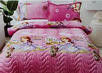 Детское стеганое покрывало на кровать 160*210 тачки маквин, принцесса, единорог