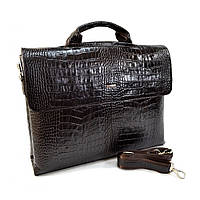 Портфель кожаный Desisan 1312-19 коричневый кроко