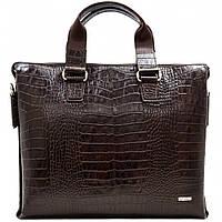 Портфель кожаный Desisan 1341-19 коричневый кроко, фото 1