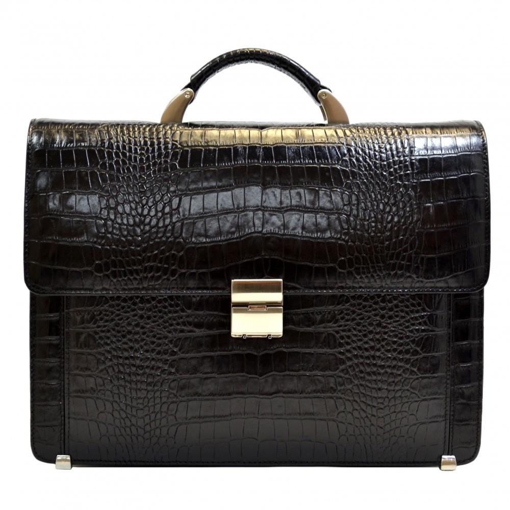 Портфель кожаный Desisan 2006-11 черный кроко