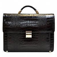 Портфель кожаный Desisan 2006-11 черный кроко, фото 1