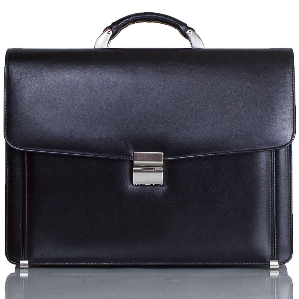 Портфель кожаный Desisan 206-1 черный гладкий