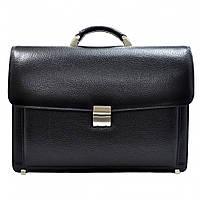 Портфель кожаный Desisan 217-011 черный флотар, фото 1