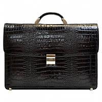 Портфель кожаный Desisan 217-11 черный кроко