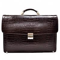 Портфель кожаный Desisan 217-19 коричневый кроко, фото 1
