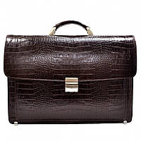 Портфель кожаный Desisan 217-19 коричневый кроко