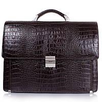 Портфель кожаный Desisan 319-19 коричневый кроко, фото 1