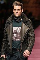 Куртка чоловіча комбінована з свакары і шкіри