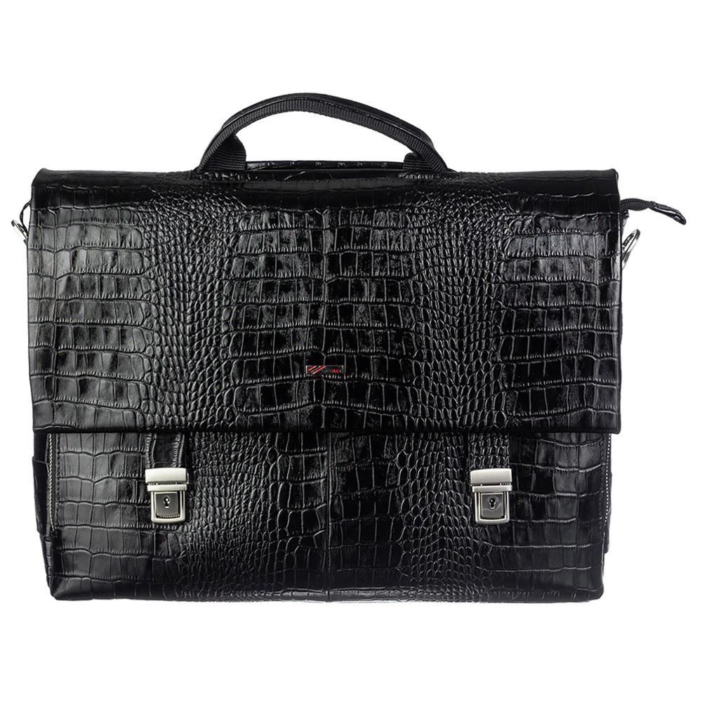 Портфель кожаный Desisan1315-11 черный кроко