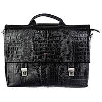 Портфель кожаный Desisan1315-11 черный кроко, фото 1