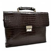 Портфель шкіряний KARYA 0152-57 коричневий кроко