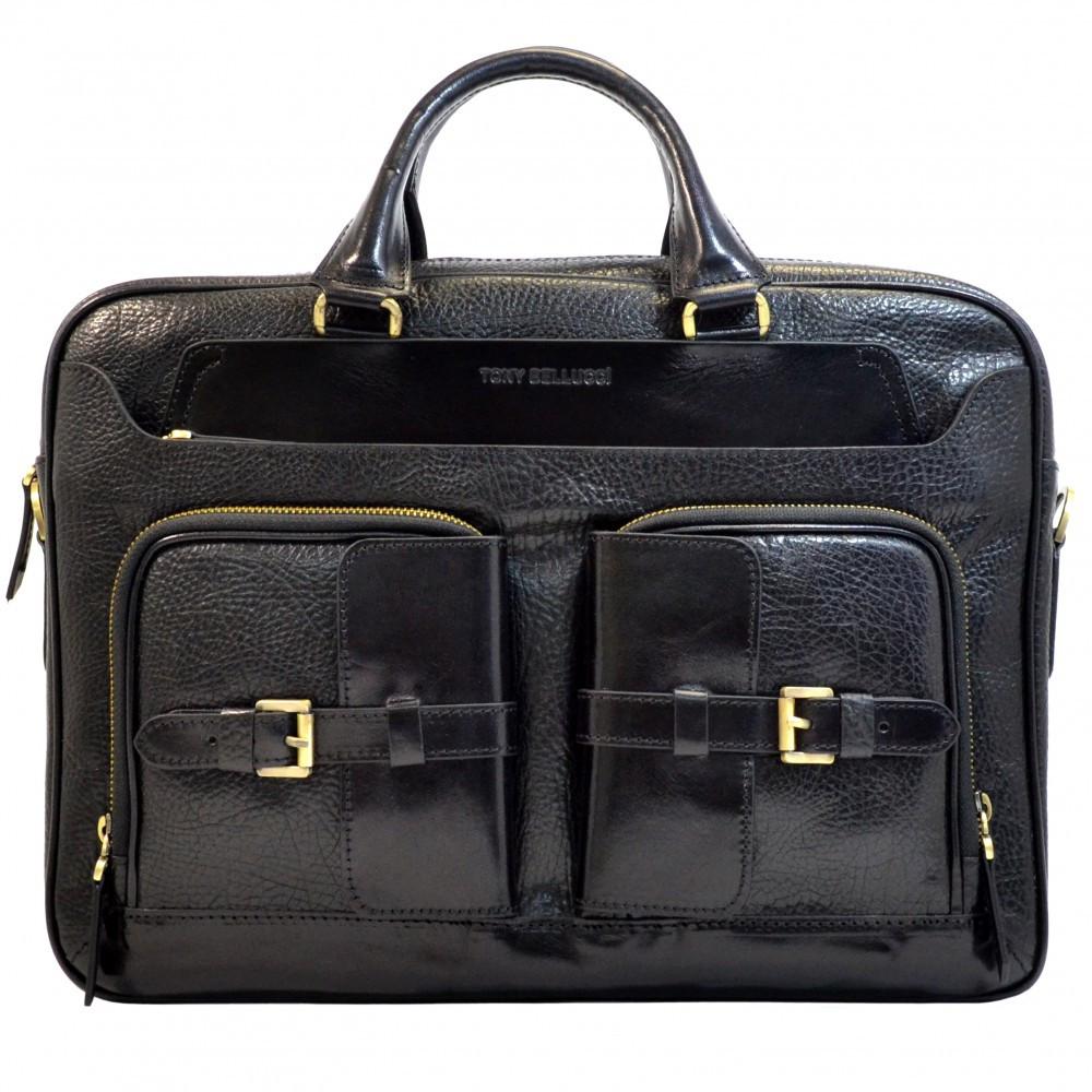 Портфель кожаный Tony Bellucci 5014-893 черный флотар