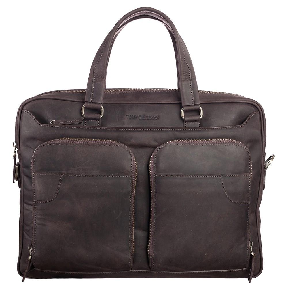 Портфель шкіряний Tony Bellucci 5048-04 коричневий нубук