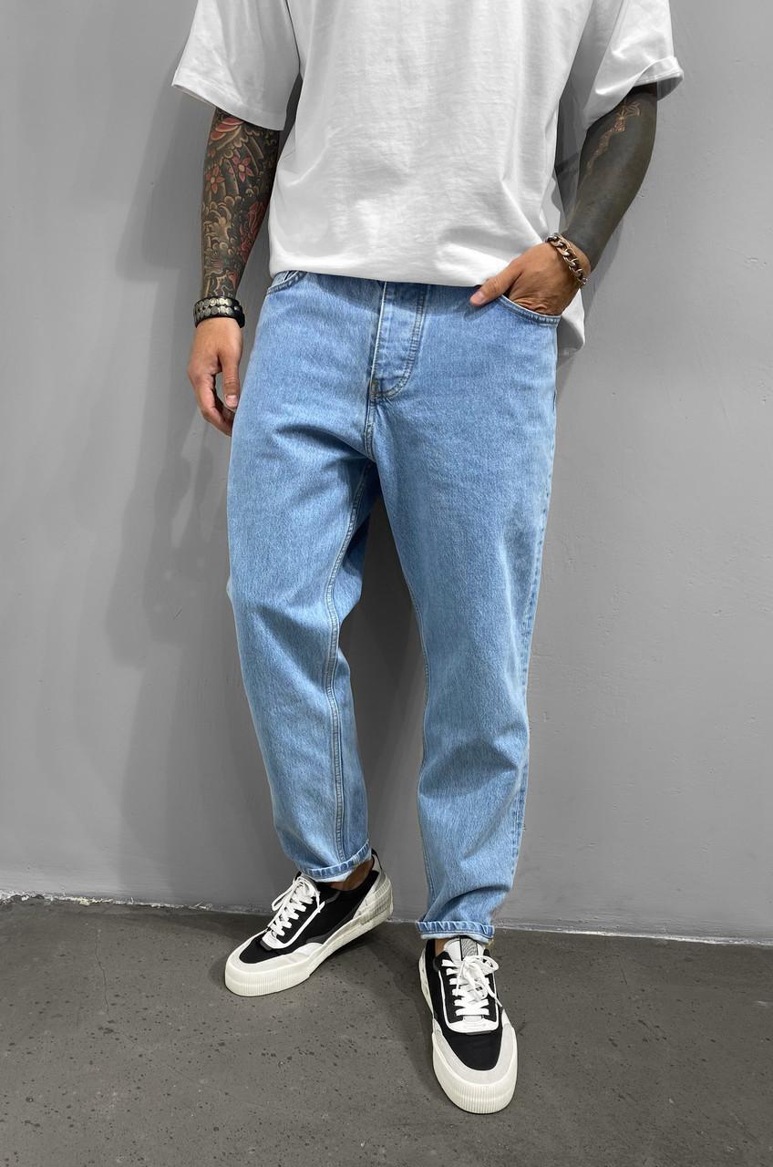 Джинсы мом мужские голубого цвета свободные стильные всі розміри чоловічі джинси 32